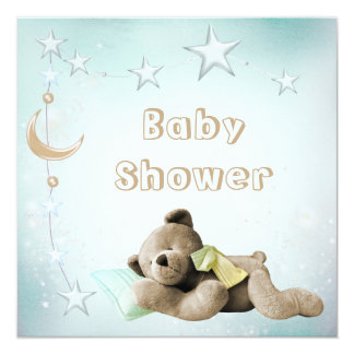 Cute Sleeping Teddy Moon & Stars Baby Shower 5.25x5.25 Square Paper Invitation Card