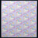 "Cute Sleeping Unicorn with Colorful Shooting Star Napkin<br><div class=""desc"">Cloth napkins with an illustration of a cute and kawaii unicorn sleeping peacefully with a fancy curly mane and tail. A colorful rainbow shooting star above her 