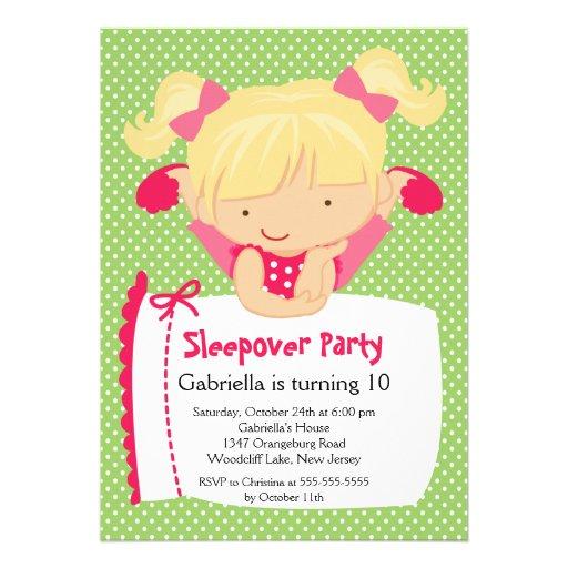 CUTE Sleepover Birthday Party Inviation Custom Announcements