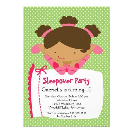 CUTE Sleepover Birthday Party Inviation Custom Announcement