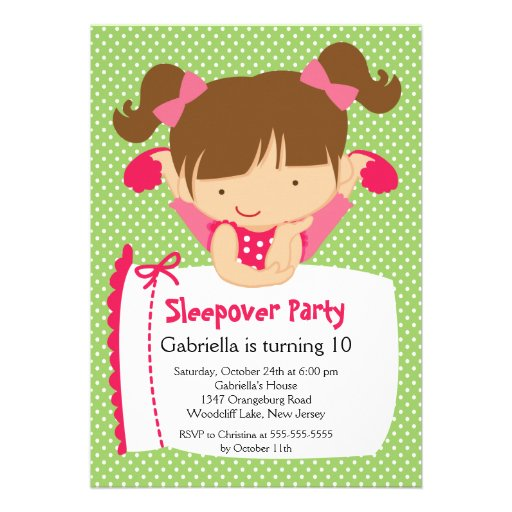 CUTE Sleepover Birthday Party Inviation Invitation