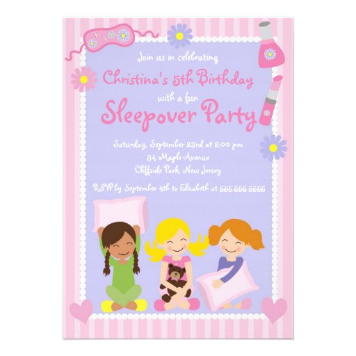 "Cute Sleepover Birthday Party Invitations 5"" X 7 ..."