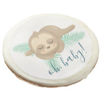 Cute Sleepy Baby Sloth Oh Baby Baby Shower Cookies