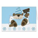 Cute Sleepy Bear Holiday Christmas Card