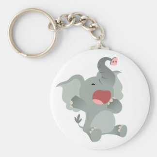 Cute Sleepy Cartoon Elephant  Keychain