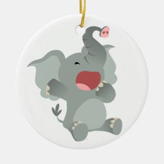 Cute Sleepy Cartoon Elephant Ornament