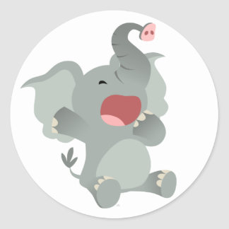 Cute Sleepy Cartoon Elephant  Sticker