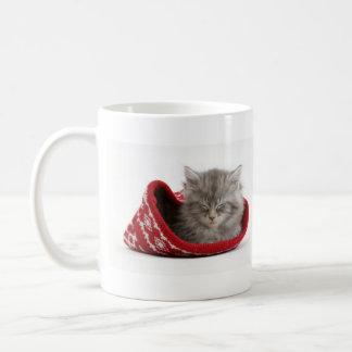 Cute sleepy kitten classic white coffee mug
