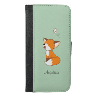 Cute Sleepy Little Fox iPhone 6/6s Plus Wallet Case