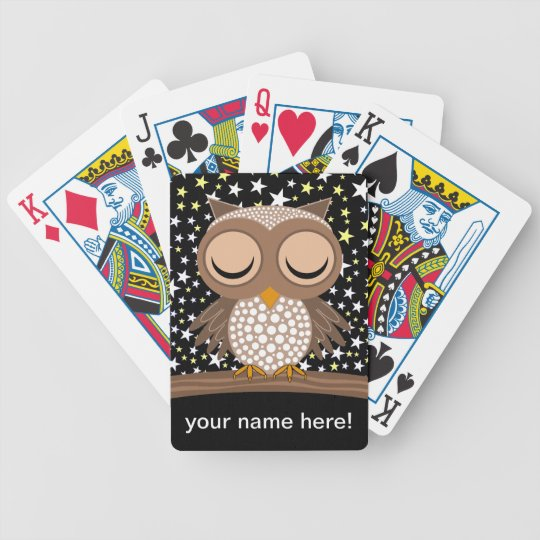cute sleepy owl bicycle playing cards