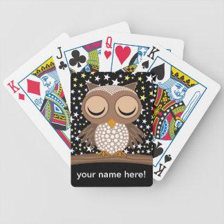 cute sleepy owl card deck