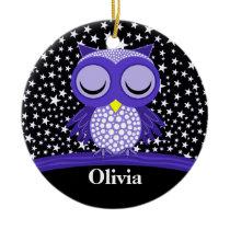 cute sleepy owl ceramic ornament