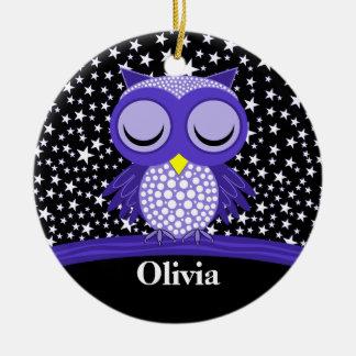cute sleepy owl Double-Sided ceramic round christmas ornament