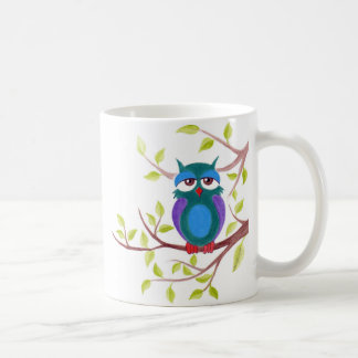 Cute sleepy owl on a tree cartoon coffee mug