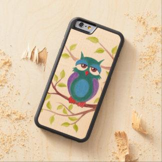 Cute sleepy owl on a tree cartoon painting carved® maple iPhone 6 bumper