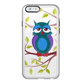Cute sleepy owl on a tree cartoon painting incipio feather shine iPhone 6 case