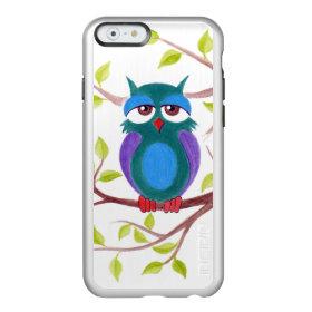 Cute sleepy owl on a tree cartoon painting incipio feather® shine iPhone 6 case