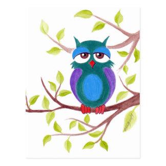 Cute sleepy owl on a tree cartoon Postcard