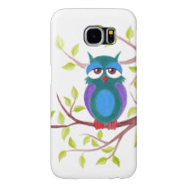 Cute sleepy owl on a tree cartoon samsung galaxy s6 case