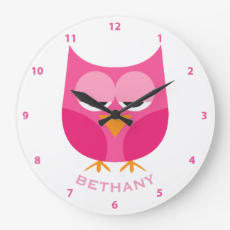 Cute Sleepy Pink Owl Personalized With Numbers Large Clock