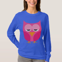 Cute Sleepy Pink Owl T-Shirt
