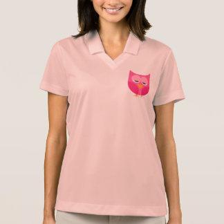 Cute Sleepy Pink Owl Polo Shirts