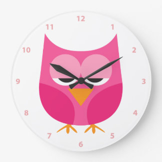 Cute Sleepy Pink Owl With Numbers Large Clock