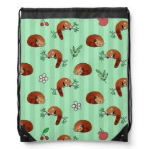 Cute Sleepy Red Panda Pattern Drawstring Bag