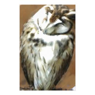 Cute Sleepy Striped Owl Stationery