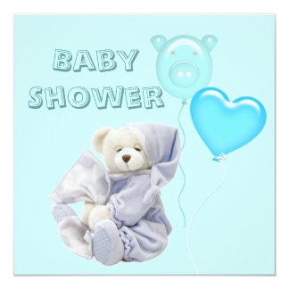 Cute Sleepy Teddy Bear Baby Shower Invitation