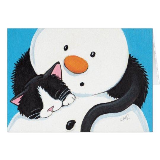 Cute Sleepy Tuxedo Cat and Snowman Christmas Card