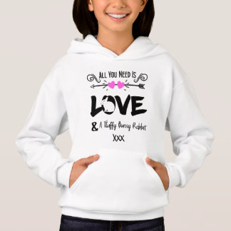 Cute Slogan Love & Fluffy Bunny Rabbit Theme Graph Hoodie