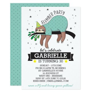 Cute Sloth Adult Slumber Party Invitation