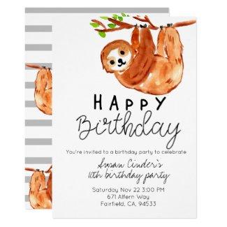 Cute sloth birthday kid party invite