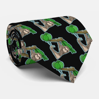 Cute sloth climbing in a tree neck tie