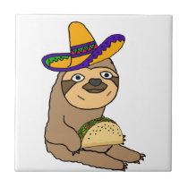Cute Sloth Eating Taco Original Art Ceramic Tile