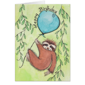 Cute Sloth Happy Birthday Card