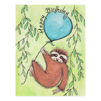 Cute Sloth Happy Birthday Postcard