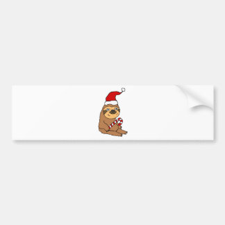Cute Sloth in Santa Hat Christmas Cartoon Bumper Sticker