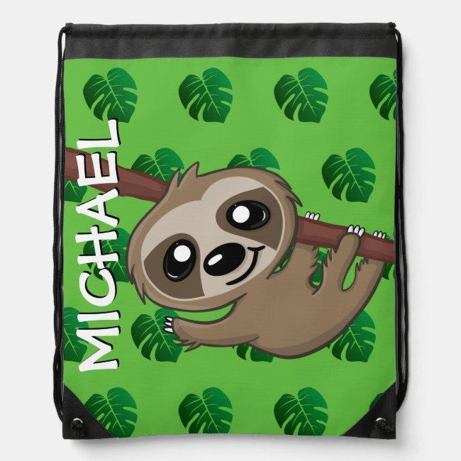 Cute Sloth Jungle Green Cartoon Rainforest Safari Drawstring Bag