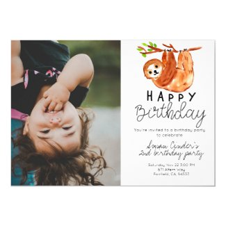Cute sloth kid birthday photo invitation