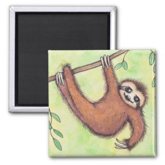Cute Sloth 2 Inch Square Magnet