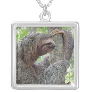 Cute Sloth Square Pendant Necklace