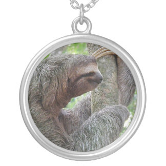 Cute Sloth Round Pendant Necklace