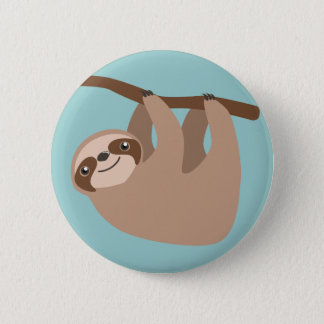Cute Sloth on a Branch Button