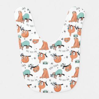 Cute Sloth Pattern Bib