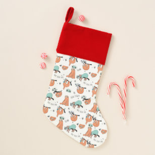 Cute Sloth Pattern Christmas Stocking