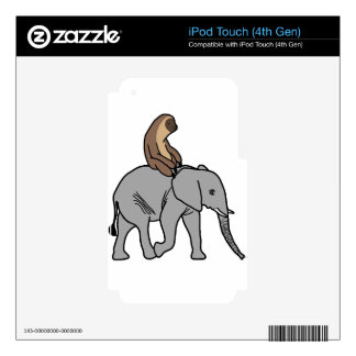 Cute Sloth Riding an Elephant iPod Touch 4G Decal