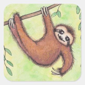 Cute Sloth Square Stickers