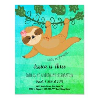 Cute Sloth Tropical Girly Birthday Party Invitation